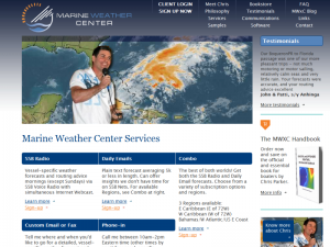 The Marine Weather Center offers custom multimedia forecasts.